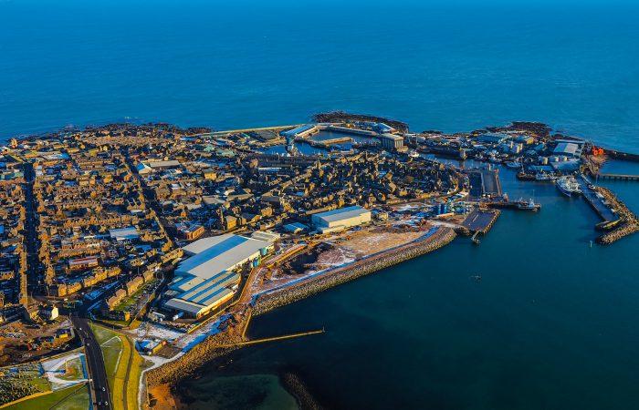 Flyfoto av Peterheads fasilliteter